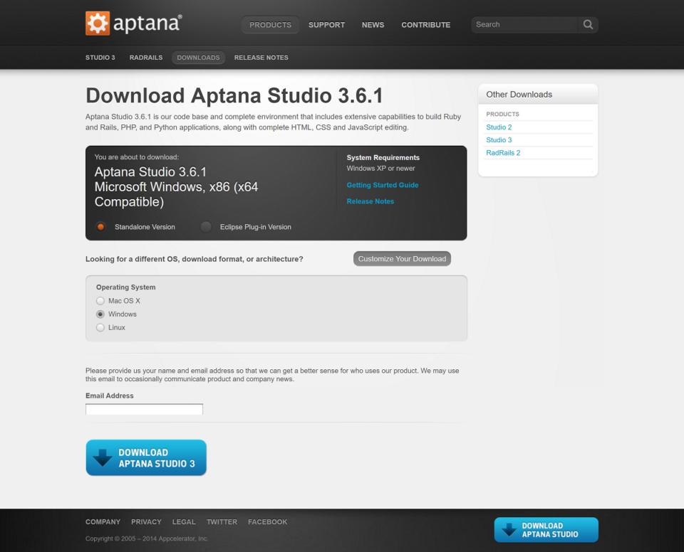 Aptana Studio のダウンロード