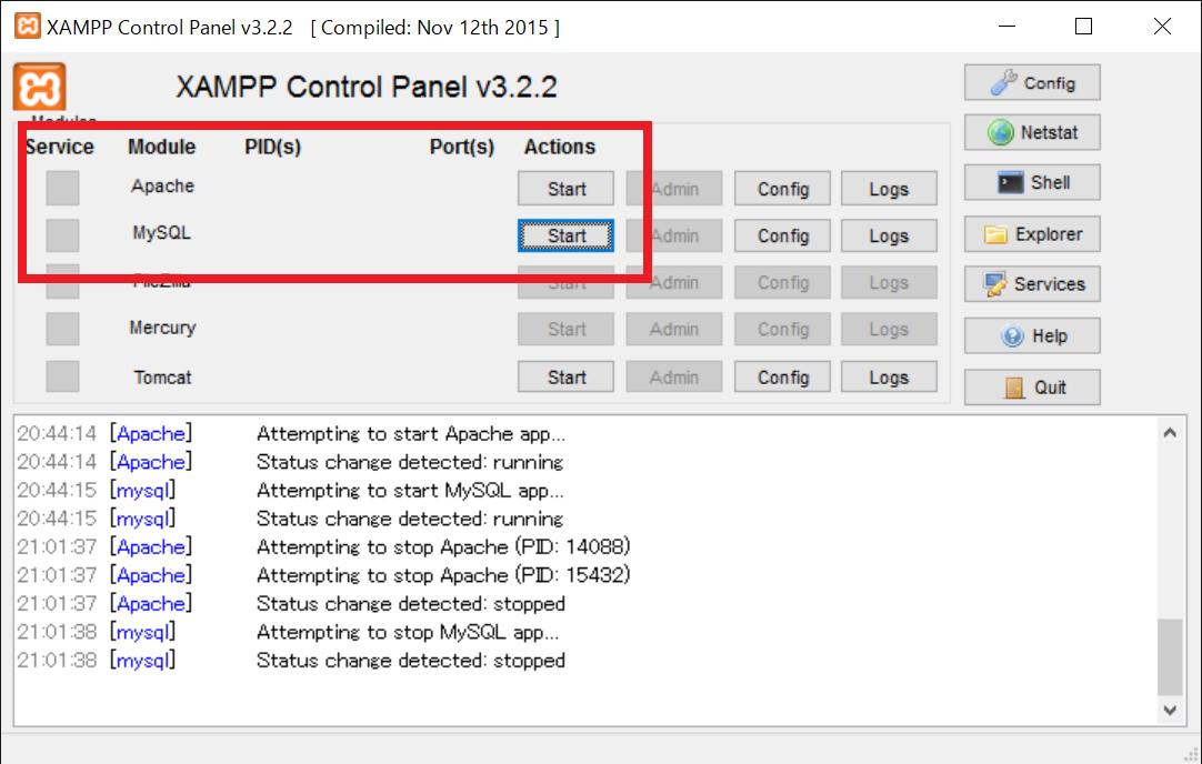 XAMPPで、ApacheとMySQLを起動させてない。